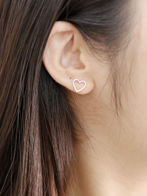 Arya Simple Hollow Heart Silver Stud Earrings