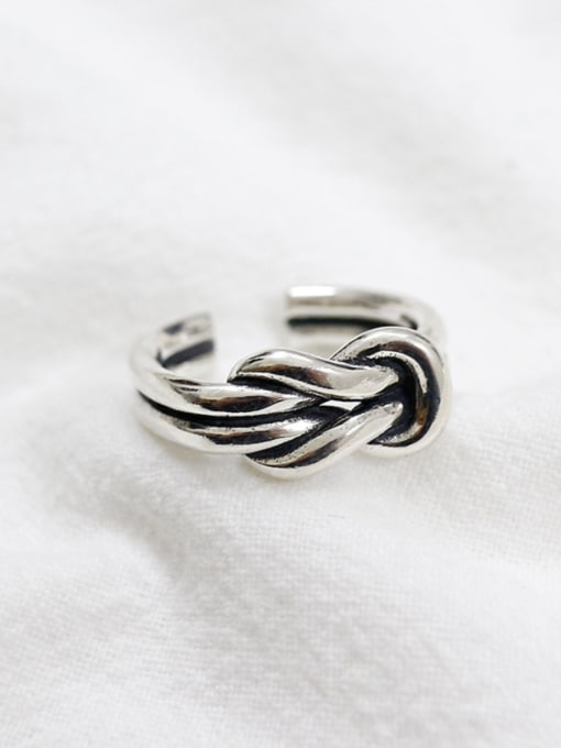 Arya Retro style Two-band Knot Silver Opening Ring