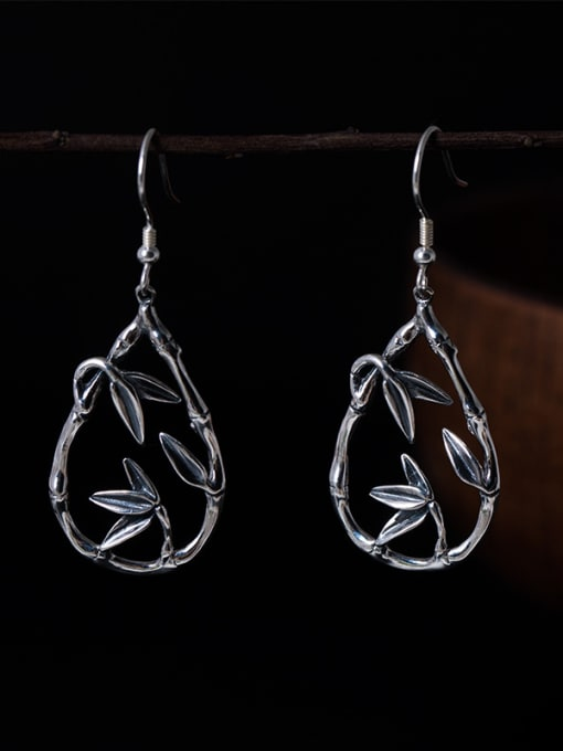 Christian Retro style 925 Silver Tiny Leaves Water Drop Earrings