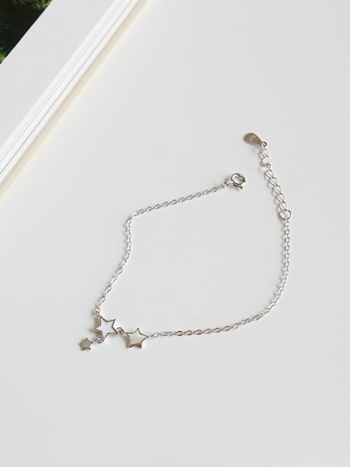 Arya Sterling Silver White-enamel Star Bracelet