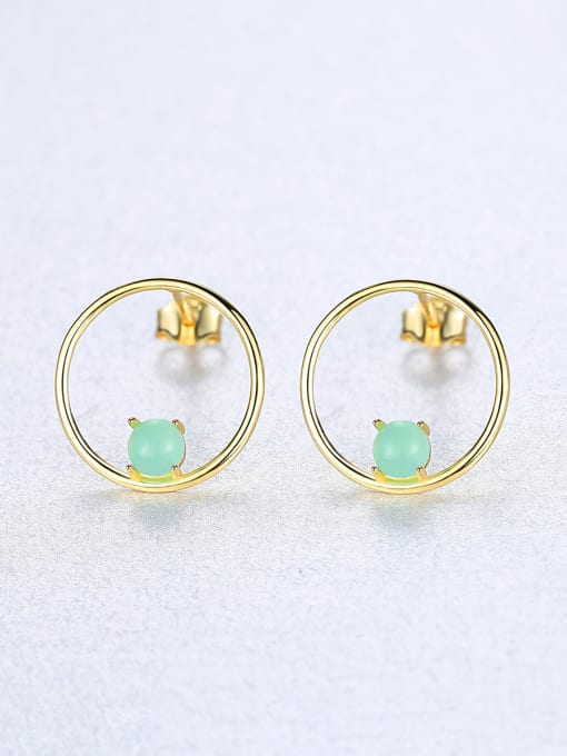 CCUI 925 Sterling Silver With  Turquoise Simplistic Round Stud Earrings