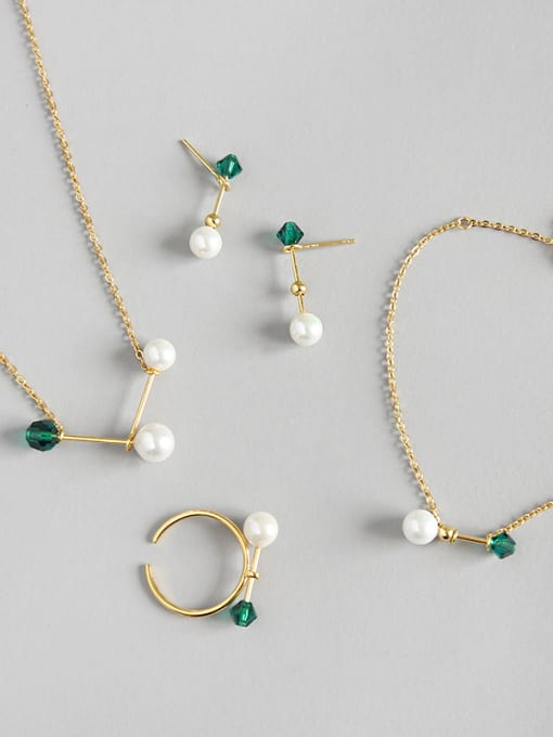 Arya Sterling silver pearl beads, zircon matches, short necklaces, necklace rings, bracelet stud sets