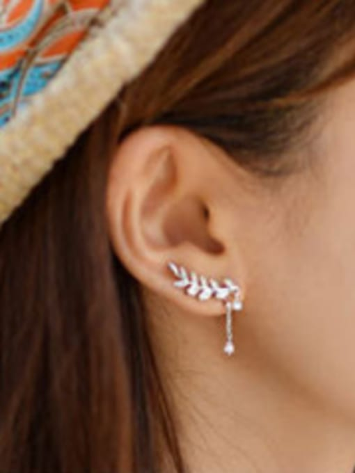 Arya Fashion Asymmetrical Leaves Marquise Zircon Silver Stud Earrings