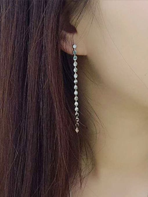 Arya Simple Tiny Rounds Tassel Silver Stud Earrings