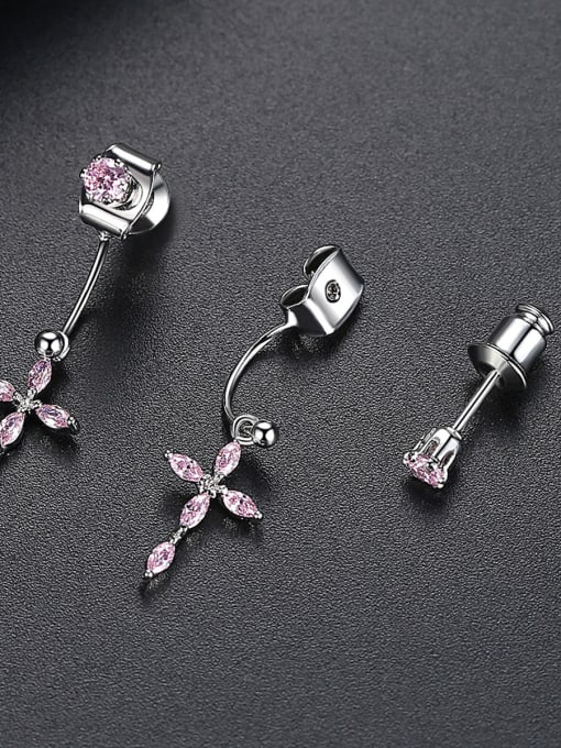 BLING SU Copper With Platinum Plated Delicate Cross Stud Earrings