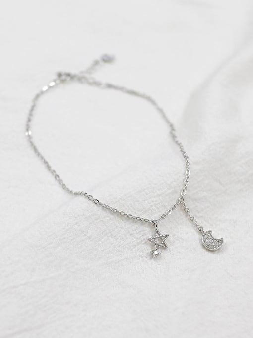 Arya Simple Star Moon Tiny Zircon Silver Anklet