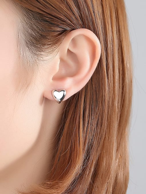 BLING SU Copper With Platinum Plated Delicate Heart Stud Earrings