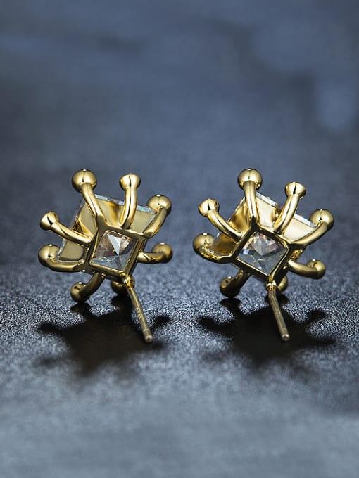 Armadani Simple Square Zircon Gold Plated Stud Earrings