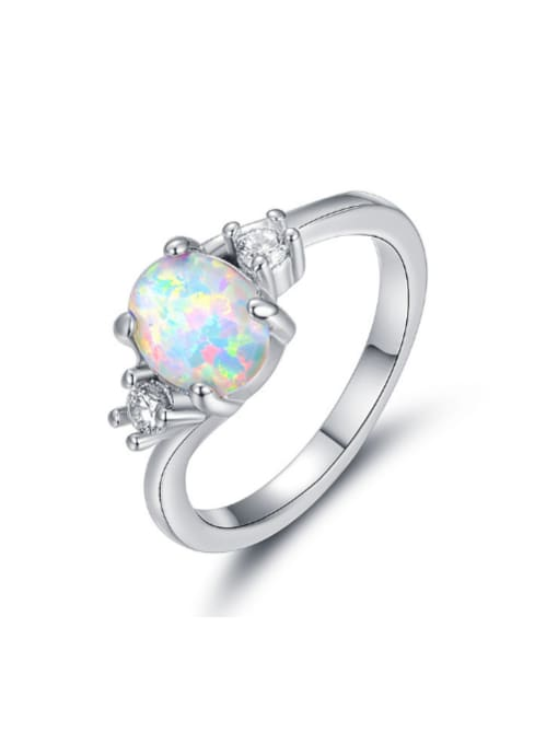 Chris Natural Opal White Gold Plated Women Ring
