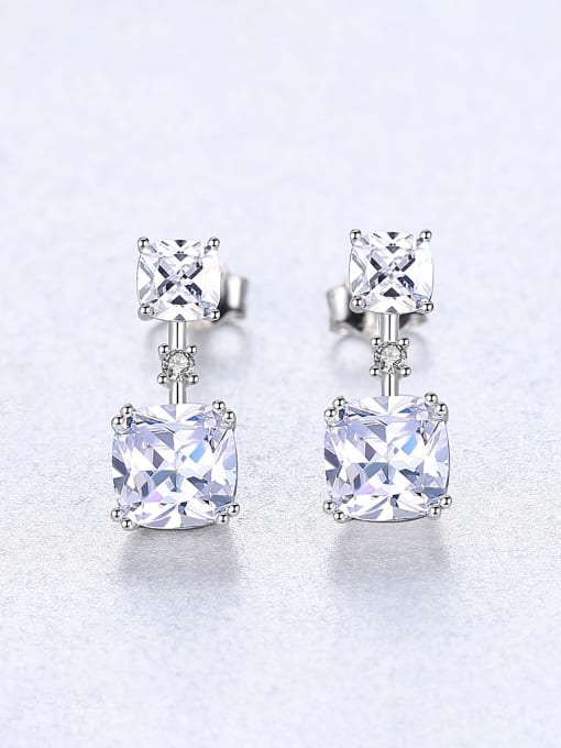 CCUI 925 Sterling Silver With Cubic Zirconia Delicate Square Stud Earrings