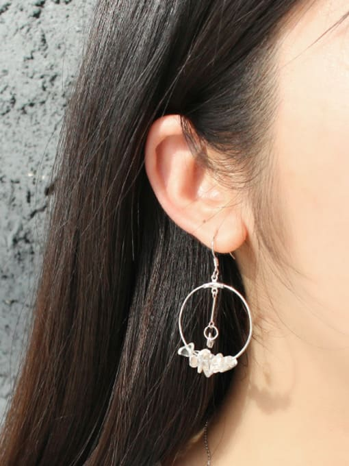 Arya Personalized Hollow Round Little White Crystals Earrings