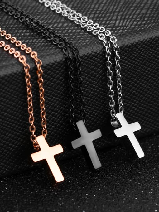Tong Stainless Steel With Rose Gold Plated Simplistic Cross Necklaces
