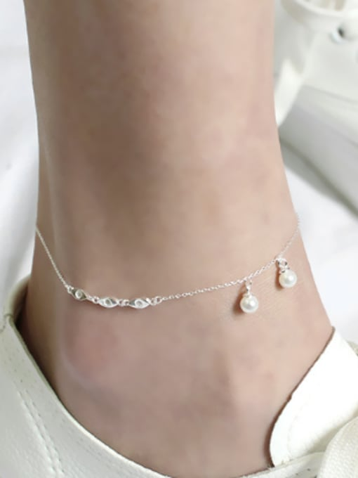 Arya Fashion White Artificial Pearls Silver Anklet