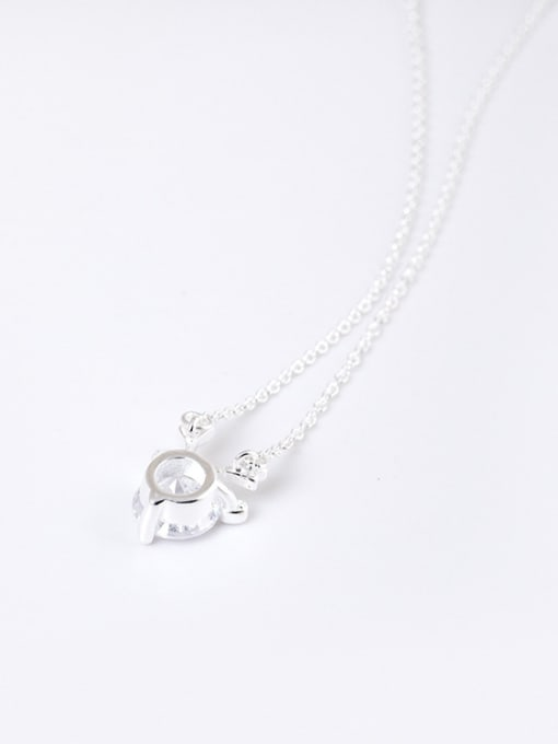Christian Simple Cubic Zircon Tiny Deer Antlers Pendant 925 Silver Necklace