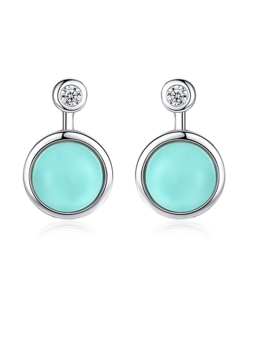CCUI 925 Sterling Silver With Turtquoise Fashion Round Stud Earrings