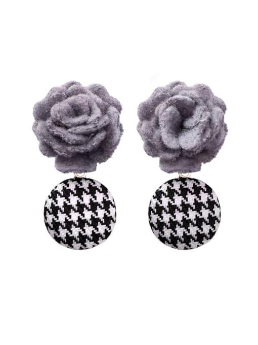 Girlhood Alloy With Classic Fabric art Flowers Drop Earrings