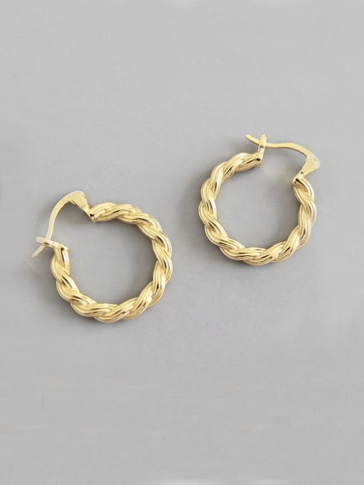 Arya 925 Sterling Silver With 18k Gold Plated Geometric texture Earrings