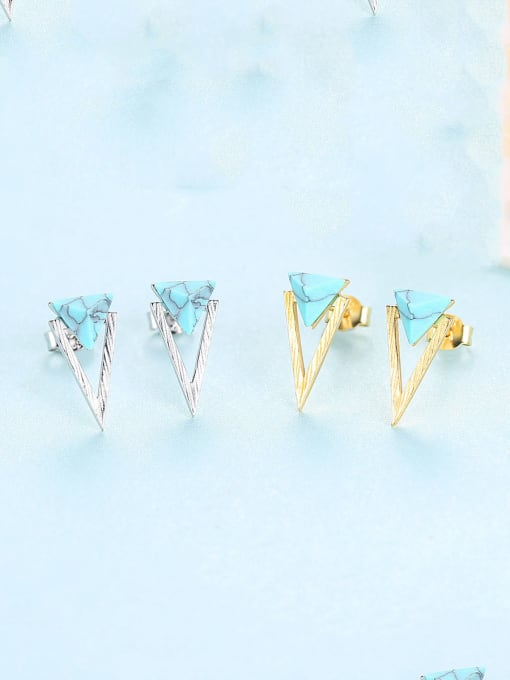 CCUI 925 Sterling Silver With Turquoise Simplistic Triangle Stud Earrings