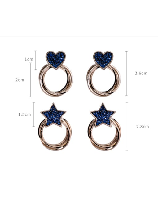 Girlhood Alloy With Antique Copper Plated Fashion Star heart Stud Earrings