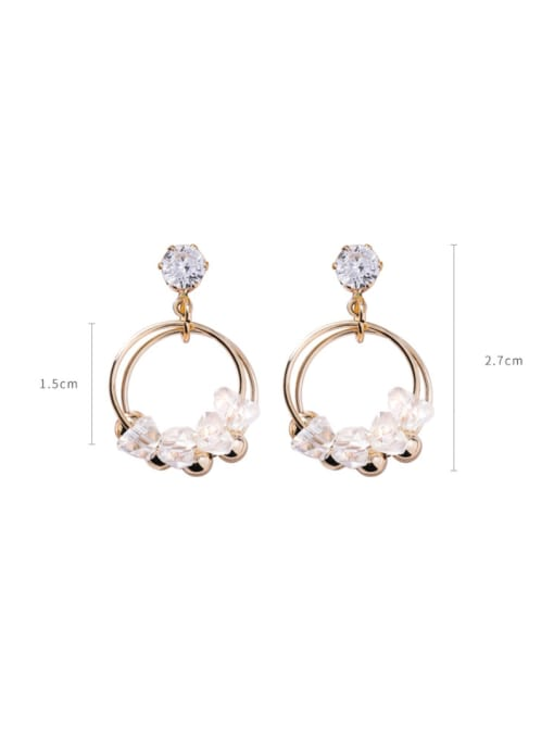 Girlhood Alloy With Gold Plated Fashion Charm Glass Stud Earrings
