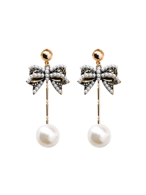 Girlhood Alloy With Antique Copper Plated Vintage Bowknot Drop Earrings