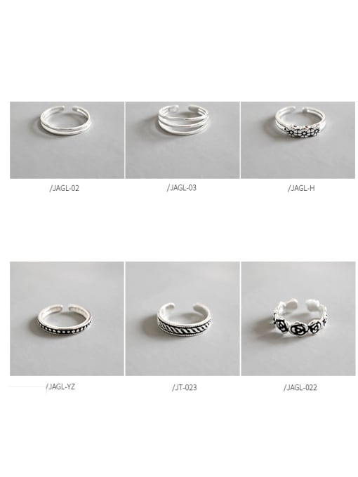 Arya 925 Sterling Silver With Antique Silver Plated Vintage Flower Rings
