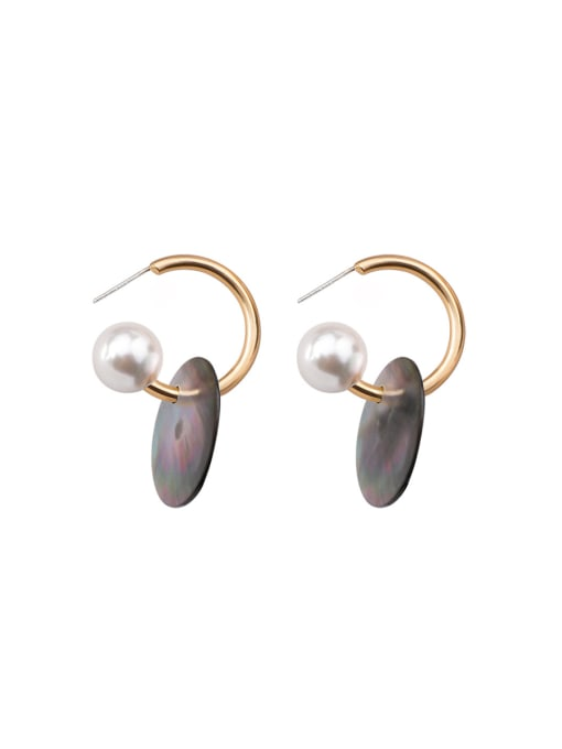 Girlhood Alloy With Gold Plated Simplistic Round Shell Drop Earrings