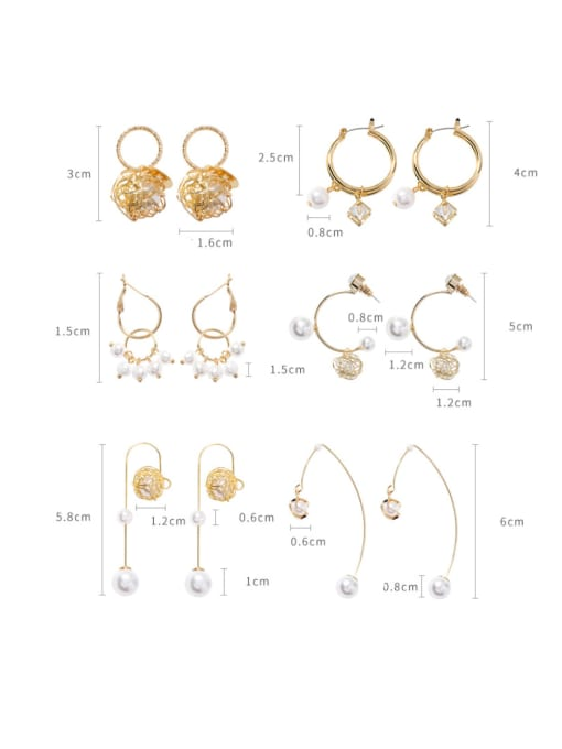 Girlhood Alloy With Gold Plated Fashion Metal Ball Imitation Pearl Drop Earrings