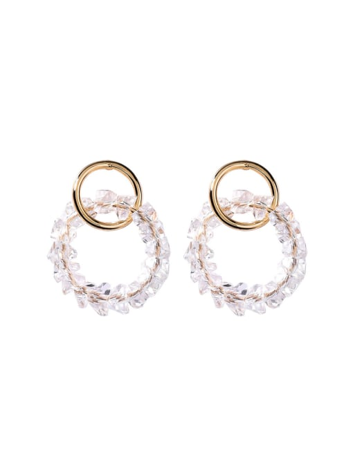 Girlhood Alloy With Gold Plated Fashion Round Beads Stud Earrings