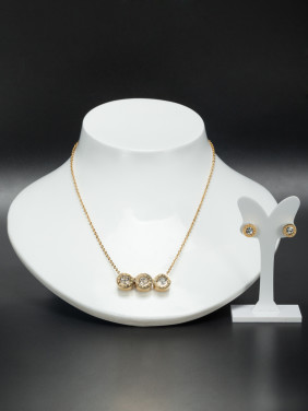 A Stainless steel Stylish Rhinestone 2 Pieces Set Of Round