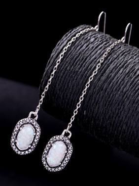 Retro Stones Alloy Drop hook earring