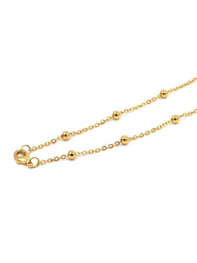 Simple Bead Chain Gold Plated Sweater Chain