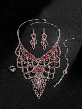 Alloy White Gold Plated Ethnic style Rhinestones Four Pieces Jewelry Set