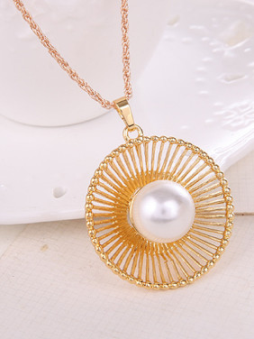 Alloy Imitation-gold Plated Fashion Artificial Stones Round Two Pieces Jewelry Set