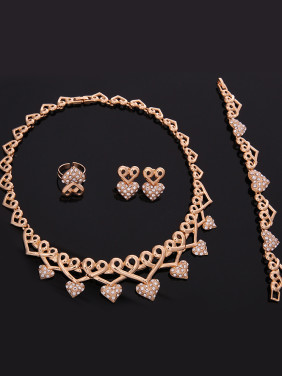 Alloy Imitation-gold Plated Vintage style Rhinestones Heart-shaped Four Pieces Jewelry Set