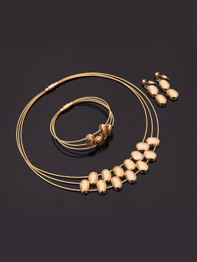 Alloy Imitation-gold Plated Fashion Oval Three Pieces Jewelry Set