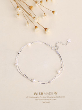 Women Temperament Double Chain Pearl Bracelet