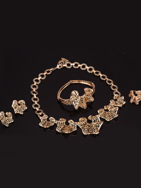 Alloy Imitation-gold Plated Vintage style Hollow Four Pieces Jewelry Set