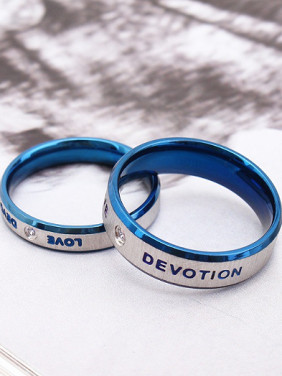 Fashion Monogram Blue Lovers Rings