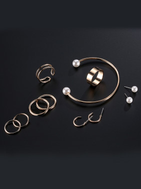 Alloy Rose Gold Plated Simple style Jewelry Set