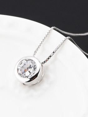 Simple Round Zircon Women Necklace
