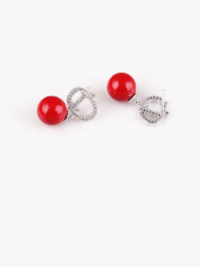 European And American Red Shell Pearl Zircon All-match Temperament Earrings