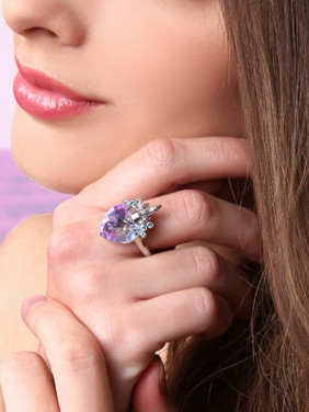 925 Silver Crystal Heart-shaped Ring
