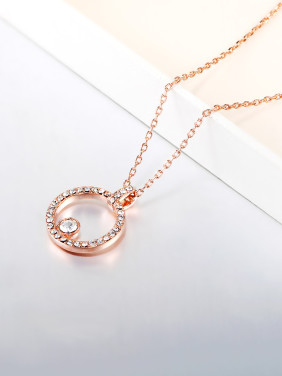 Simple Hollow Round Rhinestones Necklace