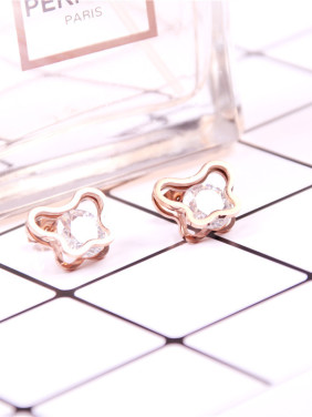 Temperament Rose Gold Plated Zircons Stud Earrings