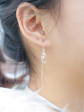 S925 silver personality diamond light bead tassel drop earrings