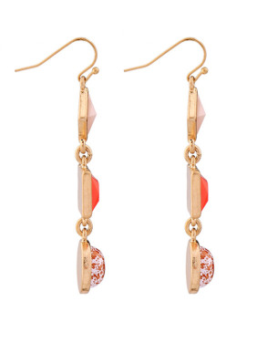 Rose Gold Plated Geometric Stones drop earring