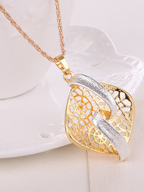 Alloy Imitation-gold Plated Fashion Hollow Square Two Pieces Jewelry Set