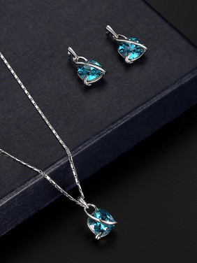 Alloy White Gold Plated Fashion Artificial Stones Two Pieces Jewelry Set
