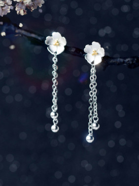 S925 Silver Sweet Cherry Flowers Tassel Drop Earrings